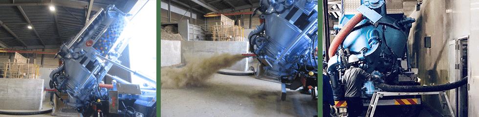 粉体専用マルチ吸引車の圧送の様子